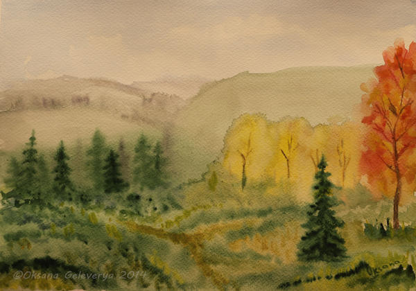 Autumn - watercolor by Oksana007