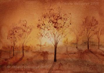 Rusty Sunset -  watercolor by Oksana007