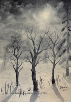 Winter Night - Watercolor