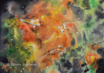 Three Koi Nebula - Watercolor