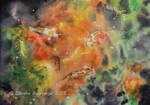 Three Koi Nebula - Watercolor by Oksana007