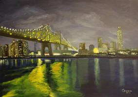 Queensboro Bridge - NYC (Long Exposure) oil by Oksana007