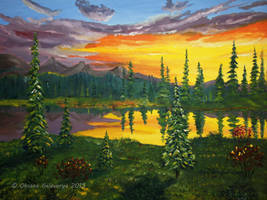 Mountain Lake Sunset by Oksana007