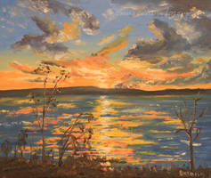 Sunset On The Lake - oil by Oksana007
