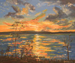 Sunset On The Lake - oil