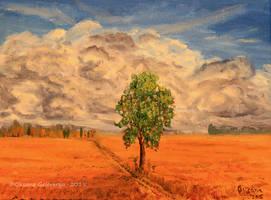 A Tree In The Field -oil by Oksana007