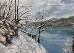 Sunny Winter Day - on the lake bank - oil by Oksana007