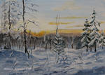 Sunset In The Winter Forest- oil