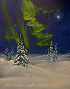 Aurora Borealis -(Long Exposure) oil by Oksana007