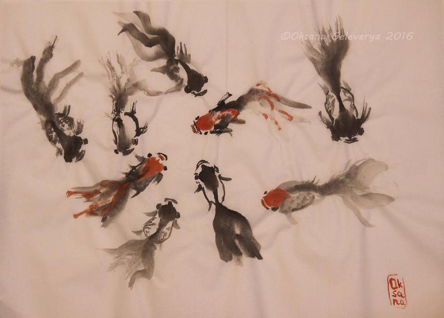 Nine Goldfishes - ink, sumi-e by Oksana007