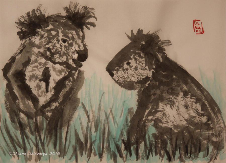 Koala Couple - ink, sumi-e by Oksana007