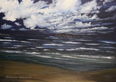 Sea, night - oil