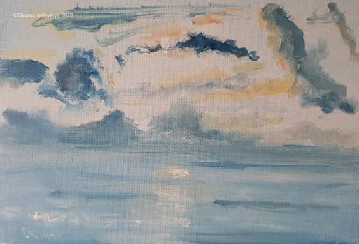 Plein air oil painting-Sea sunset.