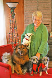Margaret And Her Doggie Family