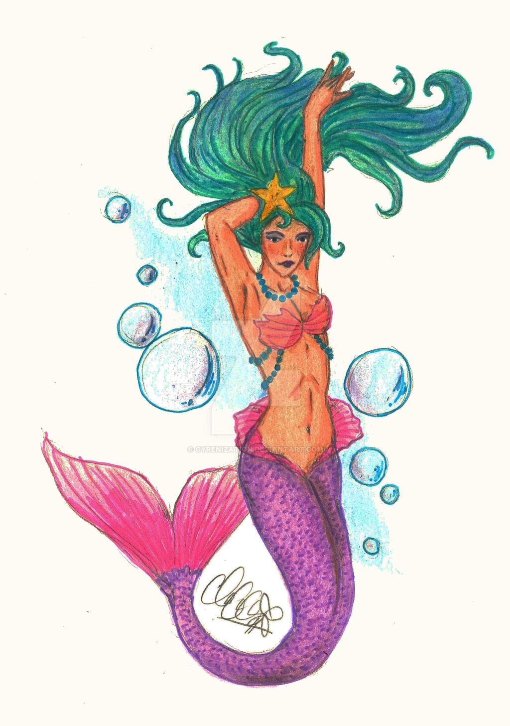Bubbly mermaid tattoo flash by cyrenization on deviantart for Traditional mermaid tattoo