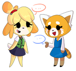 fanart- Retsuko and Isabelle (Crossover)