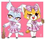 Retsuko and Manaka (Aggretsuko)
