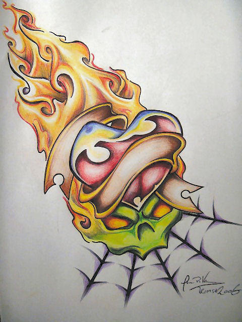 Love and hate by firepils on deviantart for Love n hate tattoo