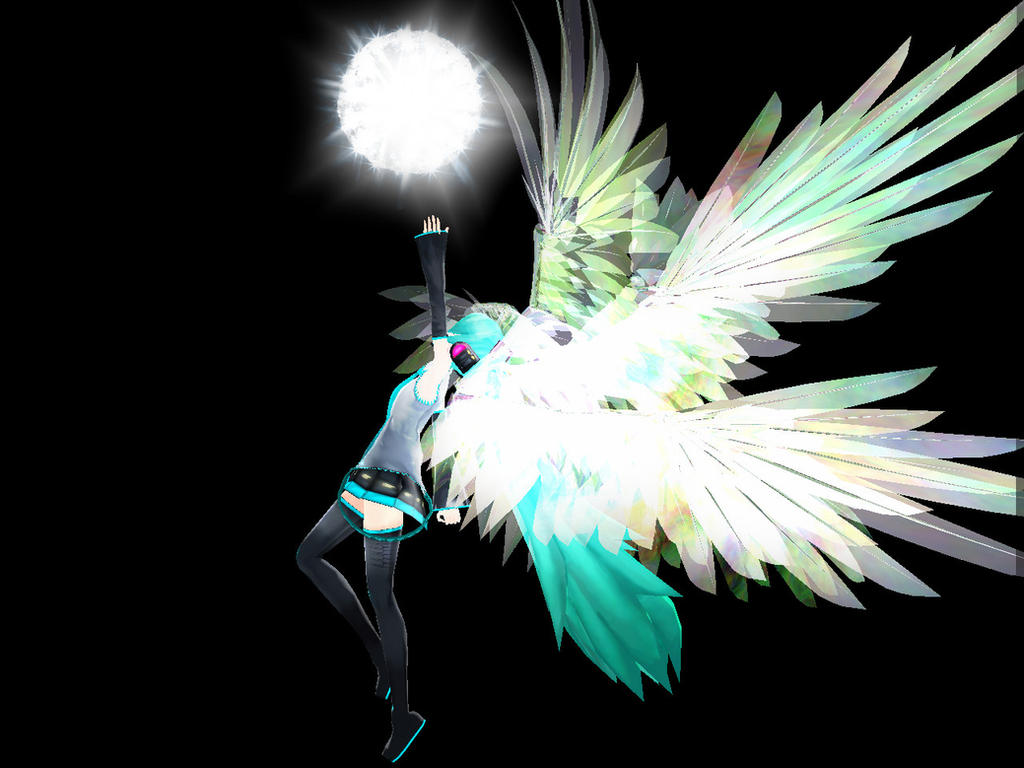 Mmd hatsune miku angel wallpaper by pinkclaudia35c on for Deviantart mmd
