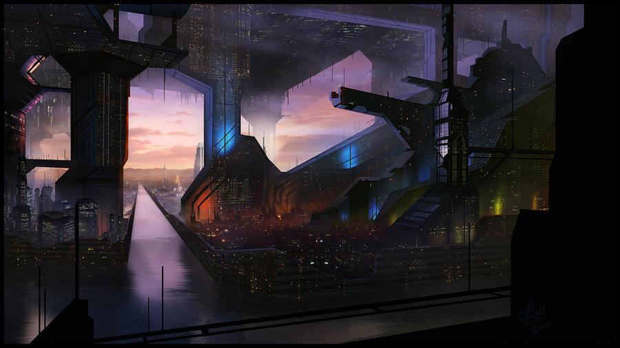 Sci Fi City Matte Painting by JasonRoll