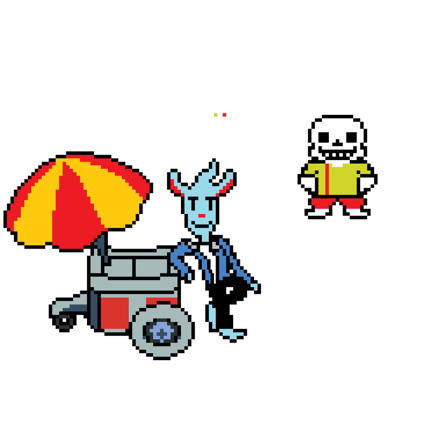 RandomTale: Nice Cream Guy and Sans by scoobymcsnack on DeviantArt