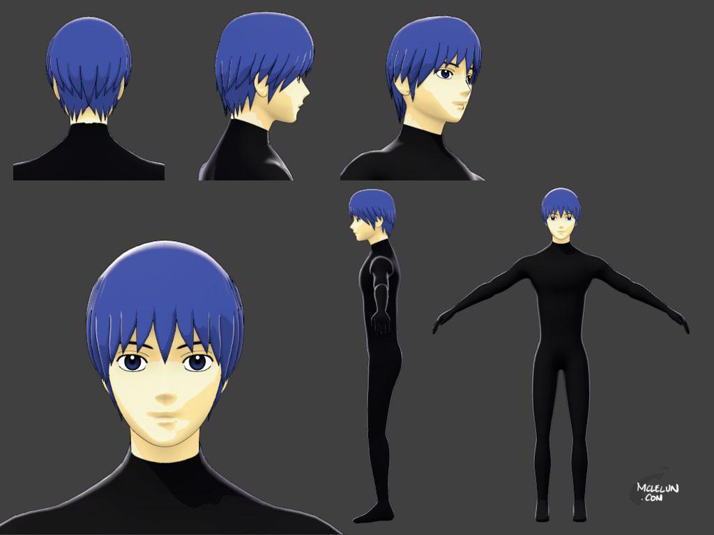 Anime Characters 3d Models : Tetsuya kuroko anime style model