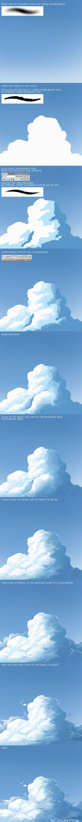 Painting Anime Style Cumulus Cloud by mclelun
