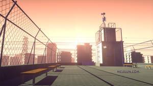 3D anime school rooftop