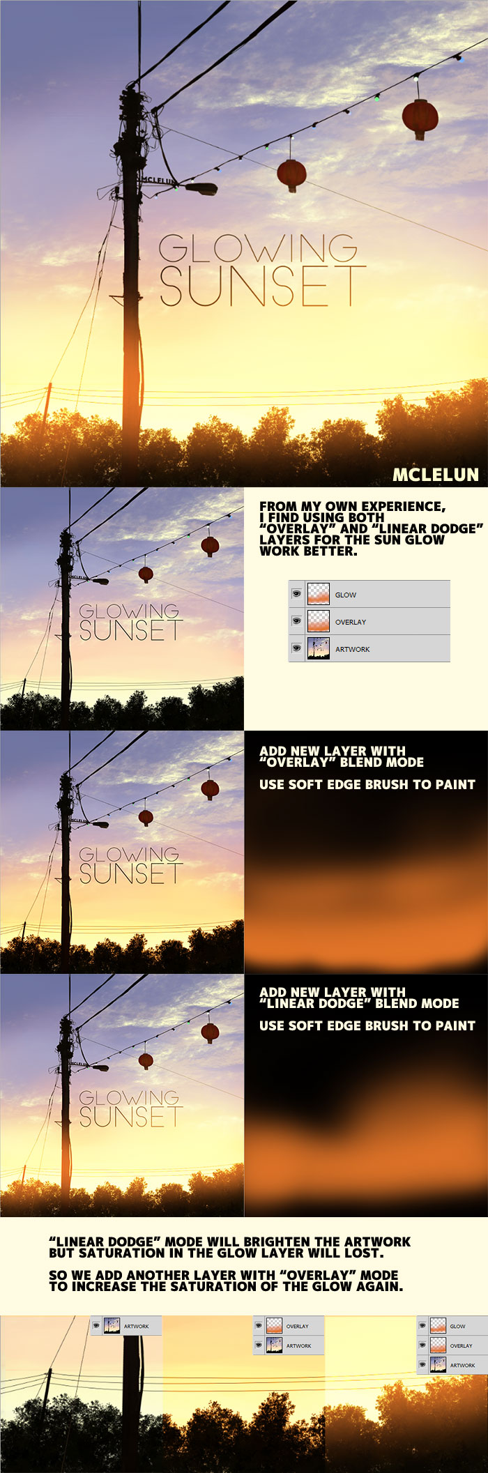 Photoshop glowing sunset tutorial