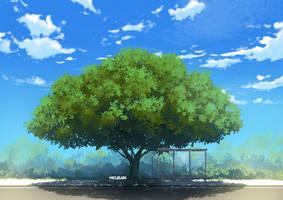 Bus Stop Near Tree by mclelun
