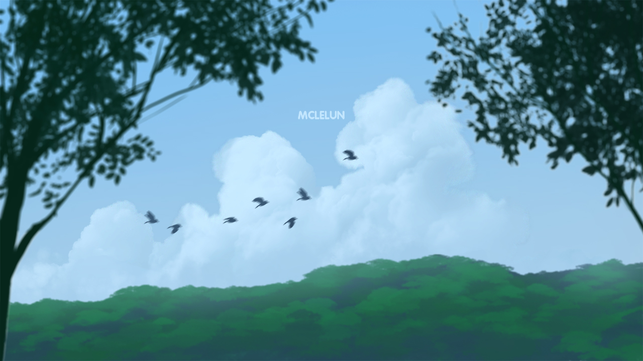 birds flying scene
