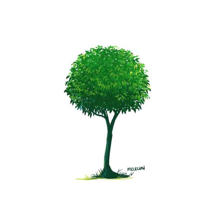 Tree painting using FireAlpaca watercolor brush