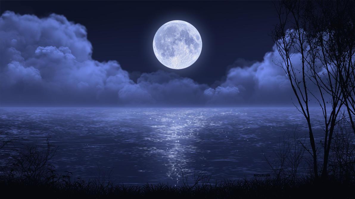 Night Lake Scene by mclelun