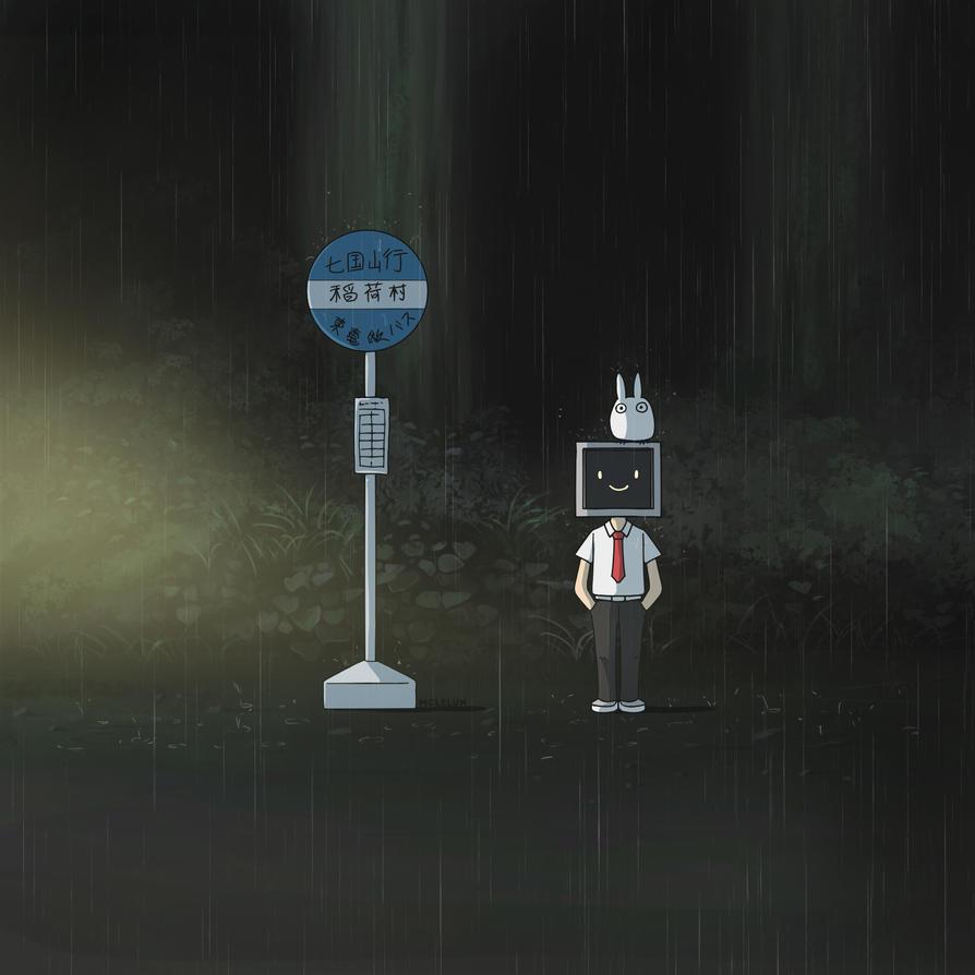 Totoro Bus Stop by mclelun