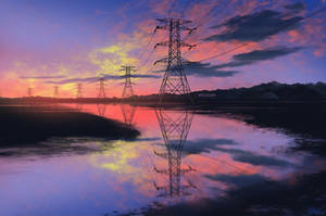 Electricity Pylon Reflection by mclelun