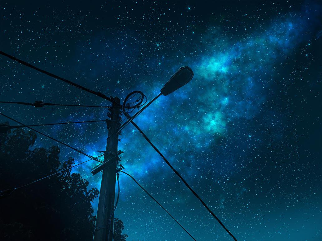 Street Light Starry Night by mclelun