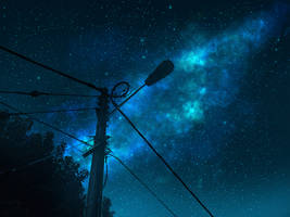 Street Light Starry Night by mclelun