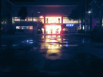 Shop Night Scene by mclelun