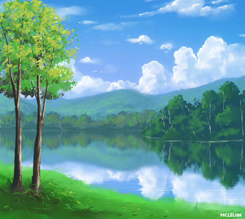 Photoshop Round Brush Landscape Painting by mclelun