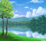 Photoshop Round Brush Landscape Painting