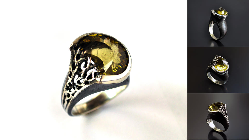 Silver ring Citrine moon (by)Yulia Gato by GatoJewel-DerKater