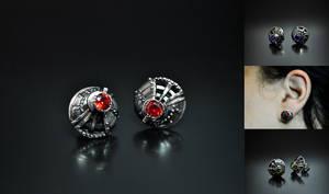 Steampunk industrial stud earrings Bucinum2 by GatoJewel-DerKater