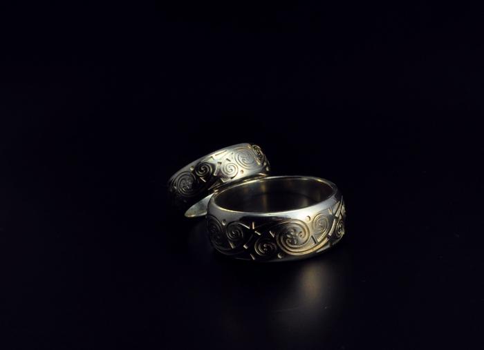 Silver Wedding Rings Book of Kells by GatoJewel-DerKater