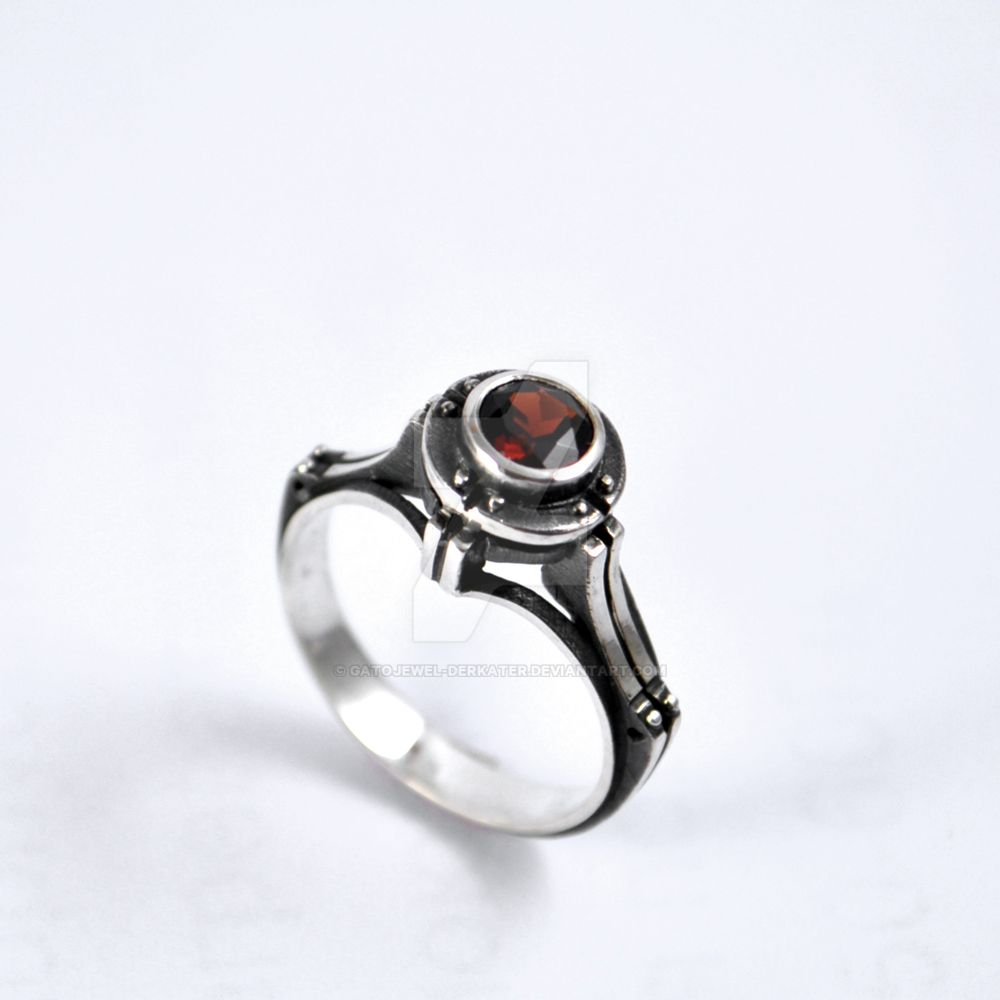 Steampunk Engagement Silver Ring With Garnet By Gatojewelderkater