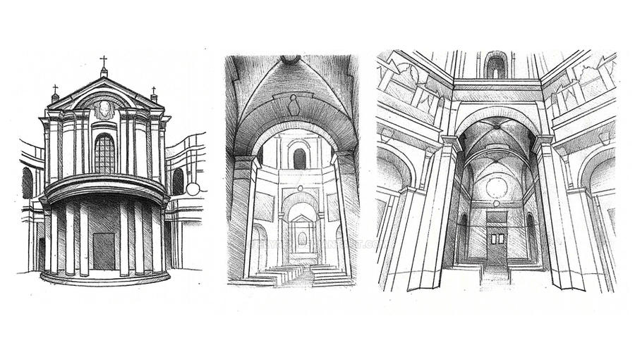 Sketch Church S Maria Della Pace Sequence Rome By Elyren On