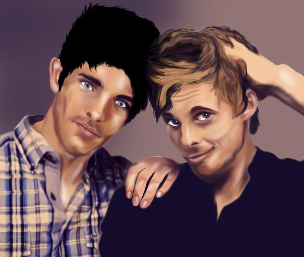 Colin Morgan and Bradley James painting by ...