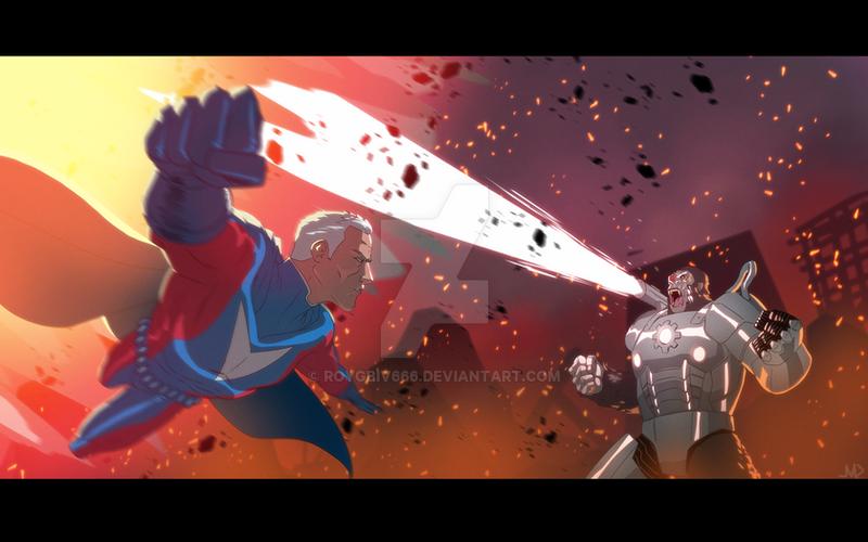 Cyborilla vs Ultraman By Joe M Davis by roygbiv666
