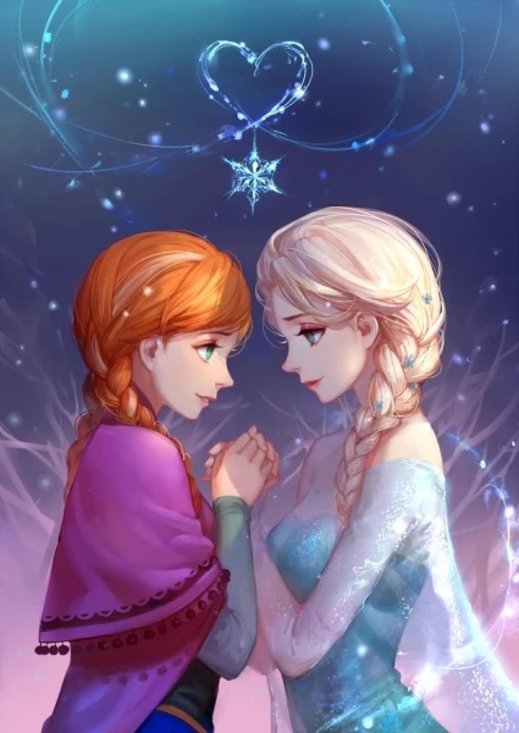 Anna Elsa Hold Hands Fan Art By Drawart K