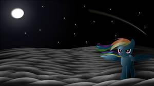 Rainbow Dash in moonlight.