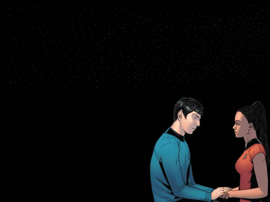 Spock and Uhura Wallpaper black by mrsgrumpylady